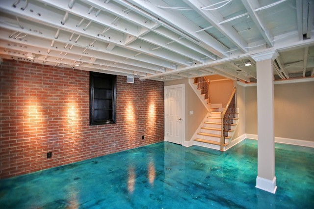 Stained Concrete Floors Basement Contemporary with Beige Blue Bookshelf Door