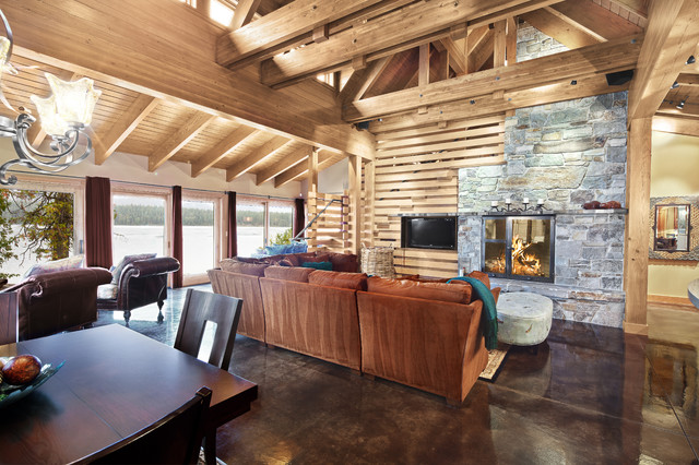 Stained Concrete Floors Family Room Contemporary with Affordable Architect Cabin Chair