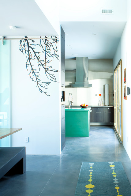 Stained Concrete Floors Hall Contemporary with Concrete Floating Cabinets Glass