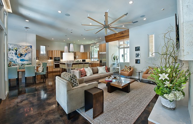 Stained Concrete Floors Living Room Contemporary with Area Rug Ceiling Fan