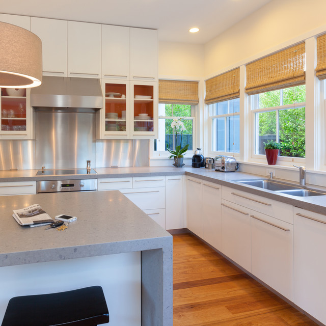 Stainless Steel Cabinet Pulls Kitchen Contemporary with Caesarstone Quartz Countertops Contemporary