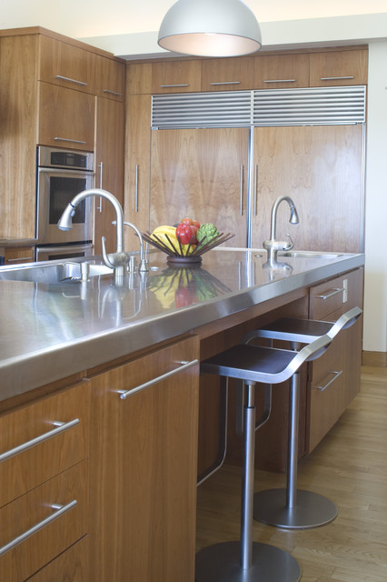 stainless steel cabinet pulls Kitchen Contemporary with bar stool breakfast bar