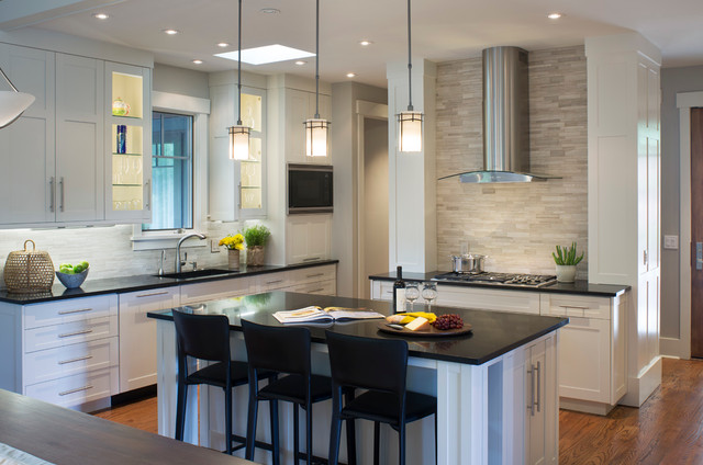 Stainless Steel Cabinet Pulls Kitchen Transitional with Black Countertop Built In
