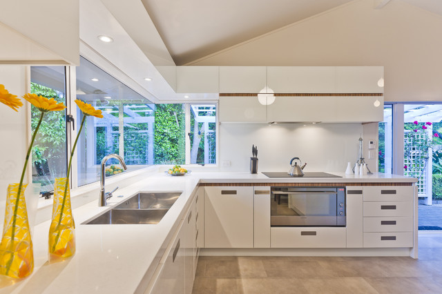 Stainless Steel Dish Drainer Kitchen Contemporary with Ceiling Lighting Corner Windows