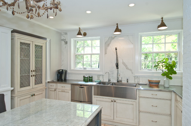 Stainless Steel Farmhouse Sink Kitchen Traditional with Beige Cabinets Beige China