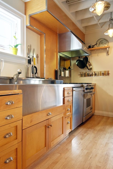 stainless steel farmhouse sink Kitchen Transitional with accent ceiling built in