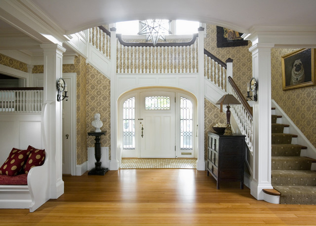 stair balusters Entry Beach with area rug artwork built