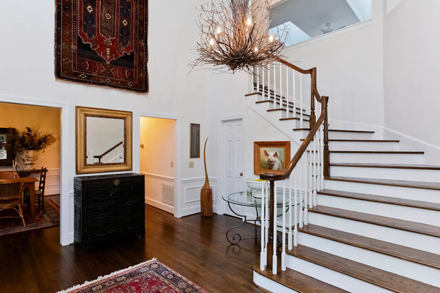 stair balusters Entry Traditional with chandelier entrance foyer glass