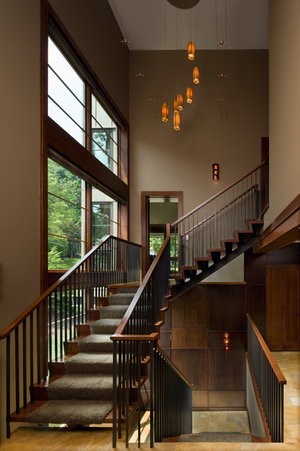 Stair Balusters Staircase Contemporary with Brown Wall Carpet Stair