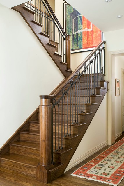 stair balusters Staircase Eclectic with colorful art metal balusters