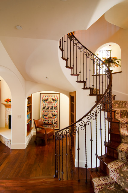 stair balusters Staircase Mediterranean with arch archway beige exterior