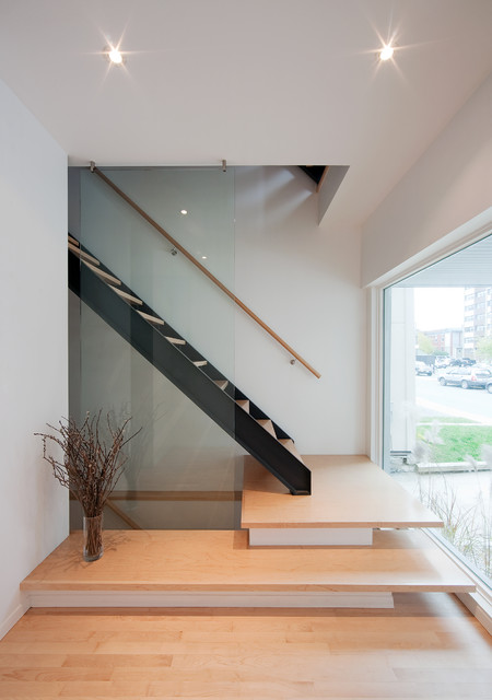 Stair Handrail Staircase Contemporary with Clean Lines Glass Panel