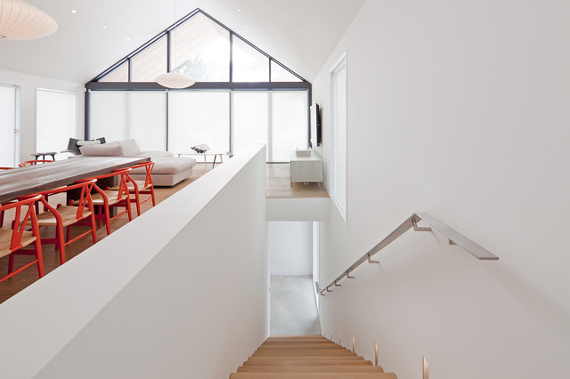 Stair Handrail Staircase Scandinavian with Cathedral Ceiling Minimal Open
