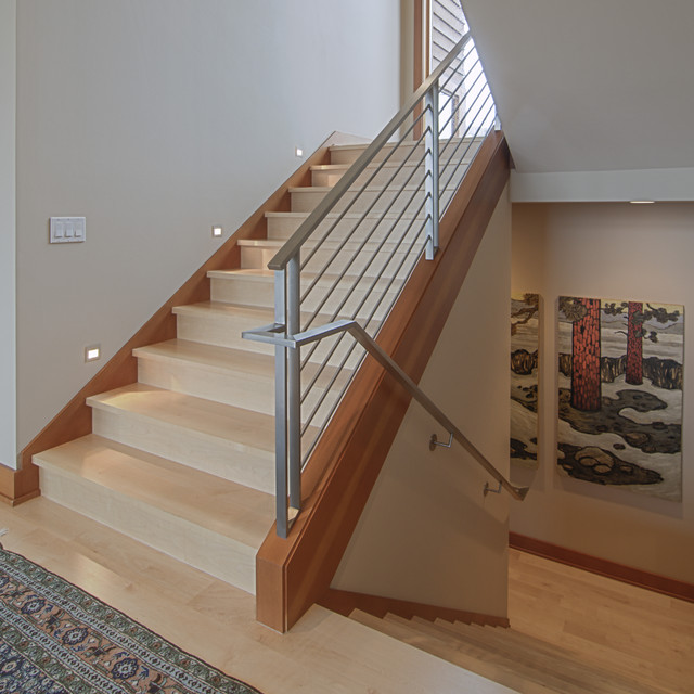 Stair Railings Staircase Contemporary with Dark Wood Baseboard Light