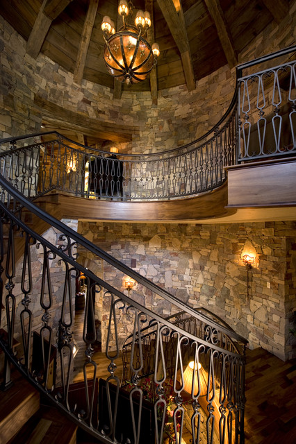 Stair Railings Staircase Rustic with Chandelier Curved Staircase Dark