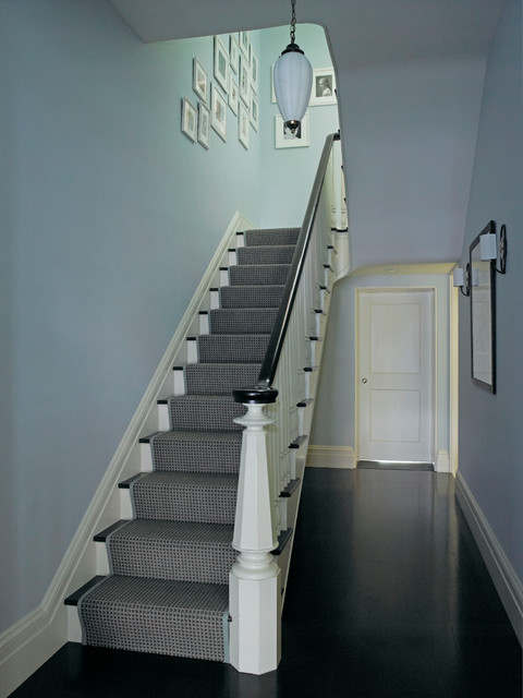 Stair Runner Staircase Eclectic with Art Banister Blue Dark