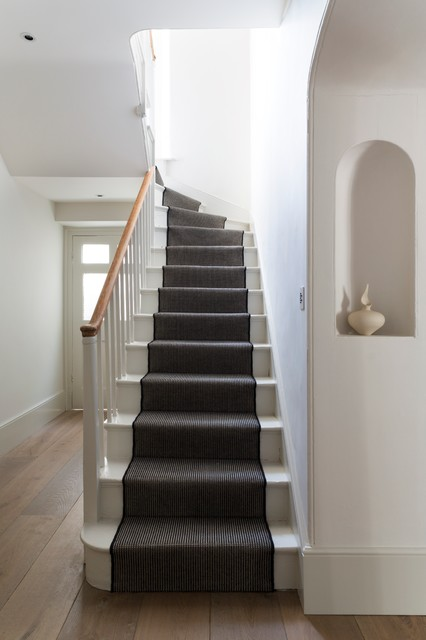 Stair Runner Staircase Victorian with Black and White Entry