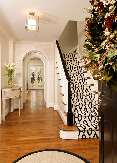 Stair Runners Staircase Traditional with Black and White Stair
