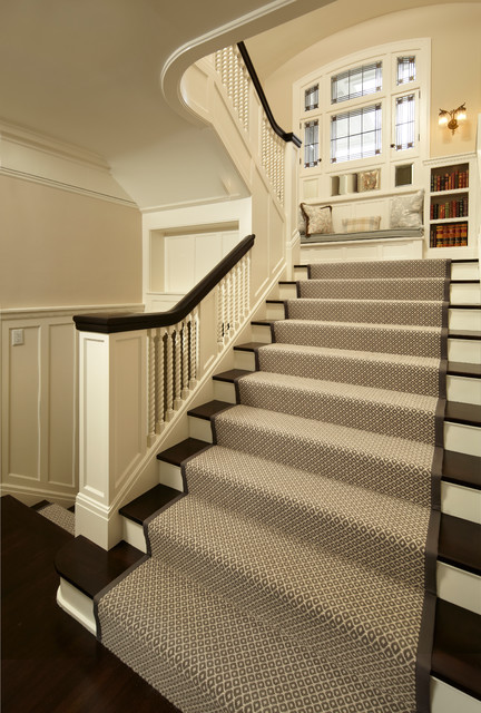 Stair Runners Staircase Traditional with Bookcase Brown and White