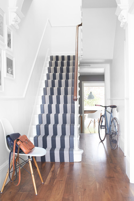 Stair Runners Staircase Transitional with Banister Flatweave Hallway Natural1