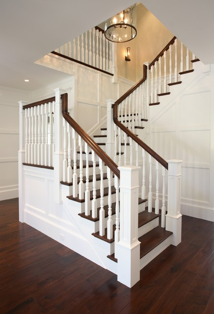 Stair Spindles Staircase Traditional with Balcony Cape Cod Dark