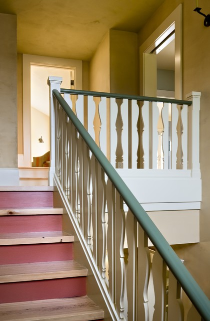 Stair Spindles Staircase Traditional with Green Trim Red Accent