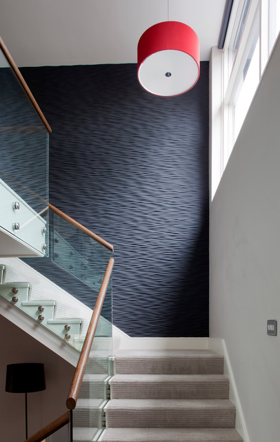 Stair Treads Carpet Staircase Contemporary with Black Accent Wall Black