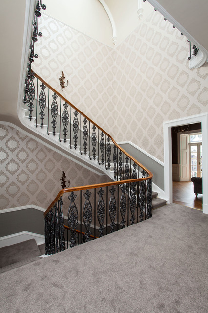 Stair Treads Carpet Staircase Traditional with Beige Wallpaper Carpeted Stairs