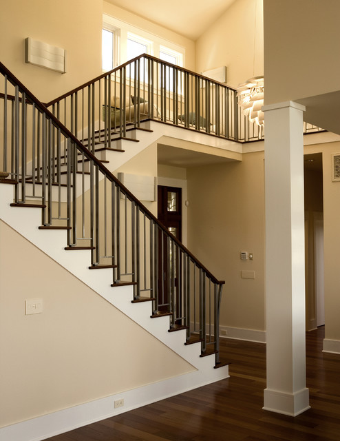 Staircase Railing Staircase Contemporary with Beam Chandelier Column Dark