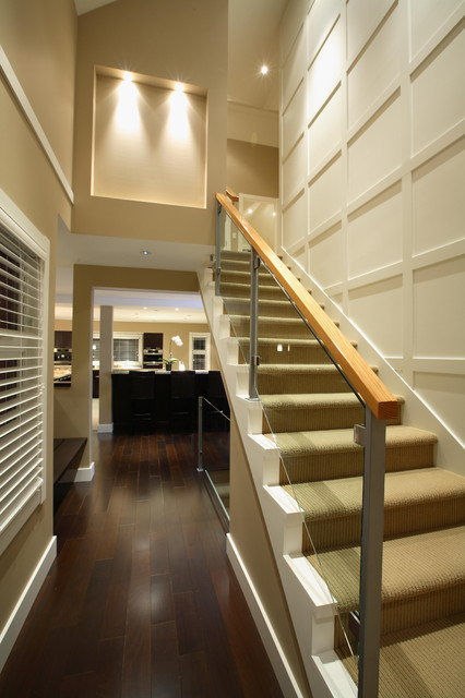 Staircase Railing Staircase Traditional with Accent Lighting Built In