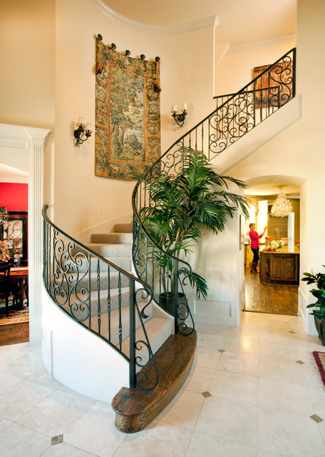 Staircase Railing Staircase Traditional with Arch Doorway Archway Beige