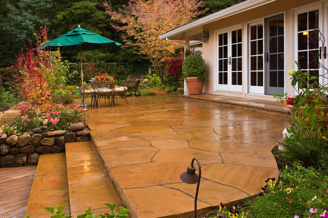 Stamped Concrete Patio Landscape Traditional with Container Plants French Doors