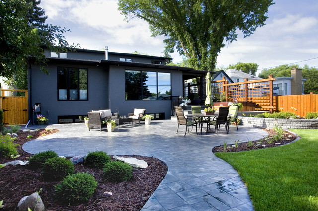 Stamped Concrete Patio Patio Contemporary with Black Exterior Trim Flower
