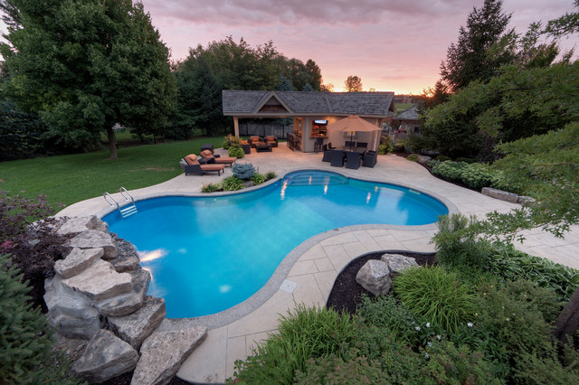 Stamped Concrete Patterns Pool Contemporary with Grass Landscape Design Landscaping