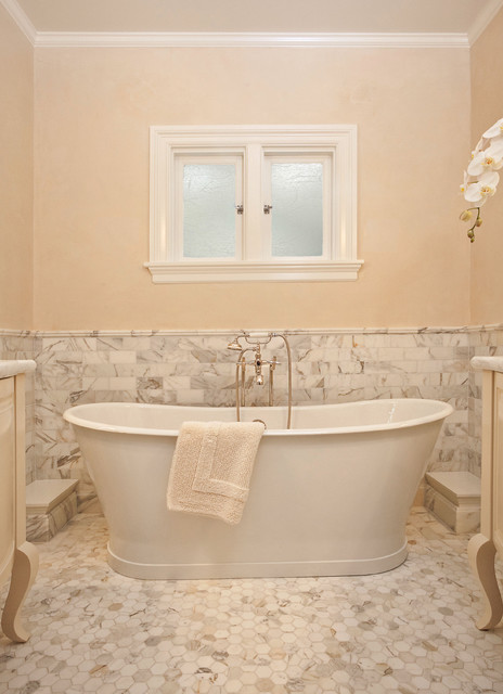 Stand Alone Tubs Bathroom Traditional with Beige Wall Floor Tiles