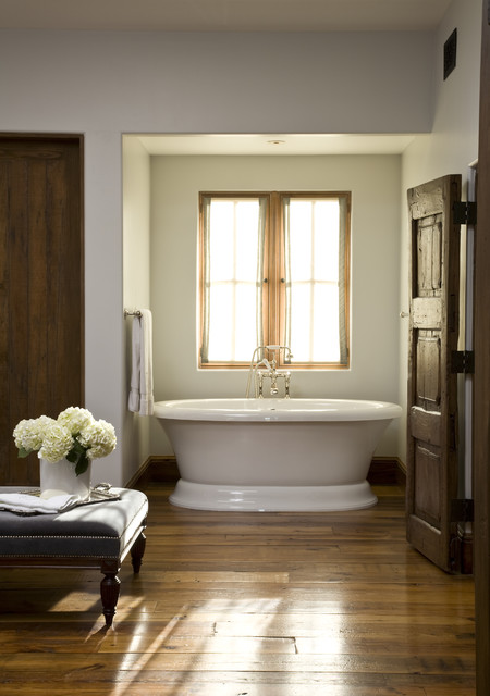Stand Alone Tubs Bathroom Traditional with Dark Wood Door Dark