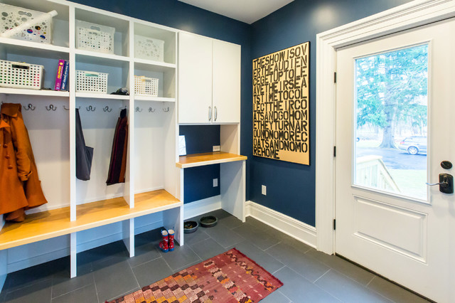 Standup Desk Entry Traditional with Back Door Baseboards Built In