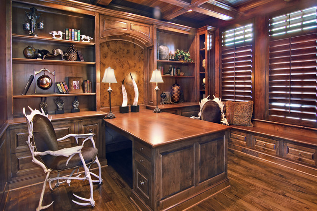 Standup Desk Home Office Traditional with Antler Chairs Bookshelves Built