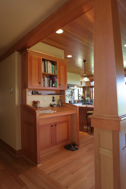 Standup Desk Kitchen Traditional with Command Central Fir Cabinets