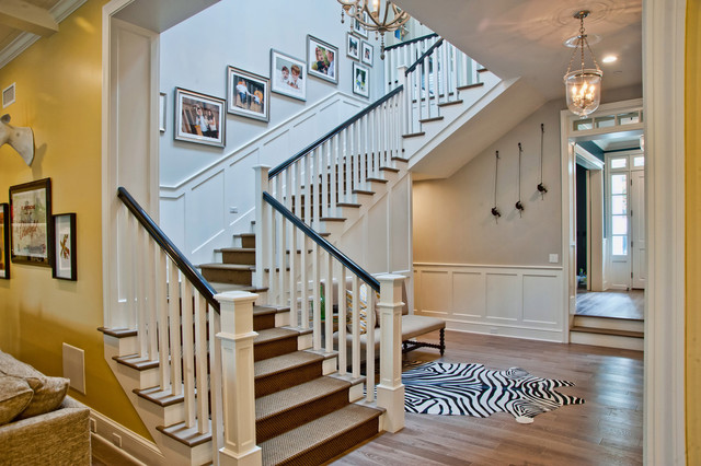 Stanton Carpet Staircase Traditional with Beige Upholstered Bench Beige