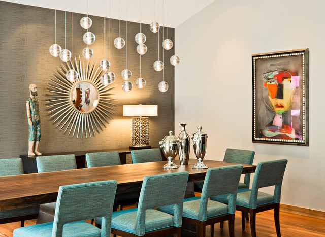 Starburst Mirror Dining Room Contemporary with Accent Wall Art Art