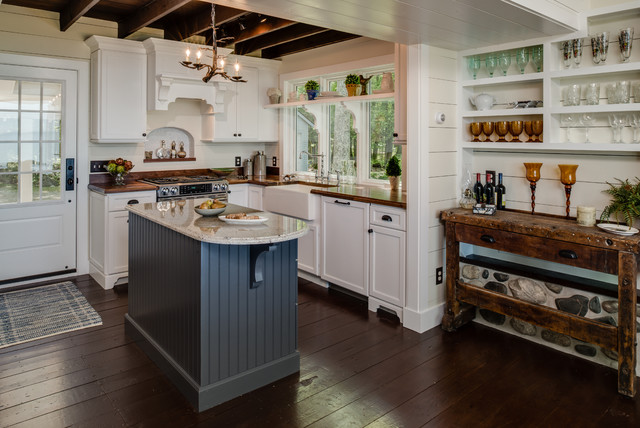 starmark cabinetry Kitchen Rustic with beadboard cabinets chandelier dark