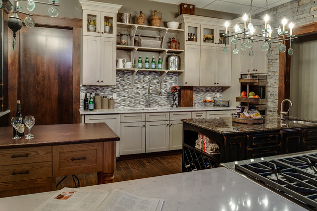 Starmark Cabinets Kitchen Contemporary with Cambria Countertops Chandelier Designs