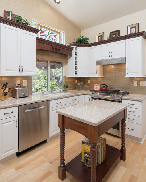 Starmark Cabinets Kitchen Traditional with Beige Countertop Dark Wood