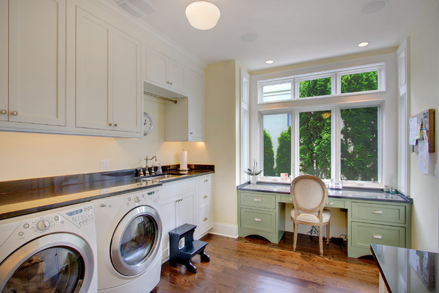 Stepping Stool Laundry Room Traditional with Black Counters Desk Area