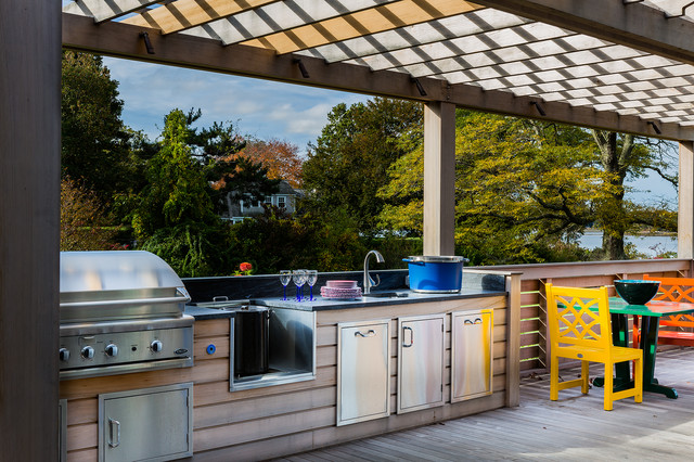 Stockpot Deck Transitional with Covered Grill Deck Deck
