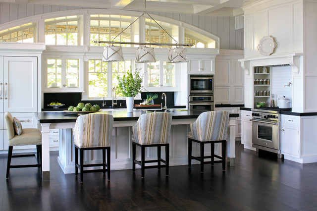 stockpot Kitchen Traditional with arched window black counters