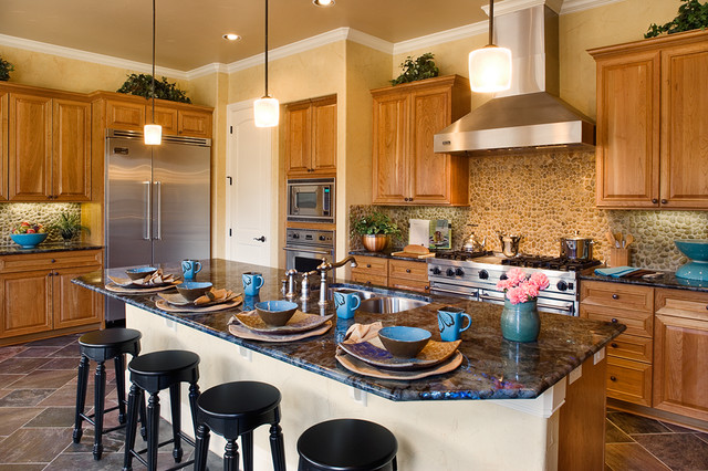 Stone Backsplash Kitchen Mediterranean with Counter Stools Frame And1