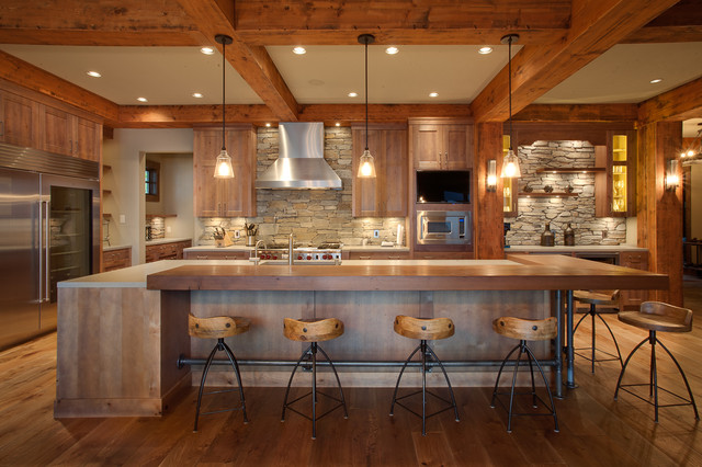 Stone Backsplash Kitchen Rustic with Exposed Beams Exposed Wood
