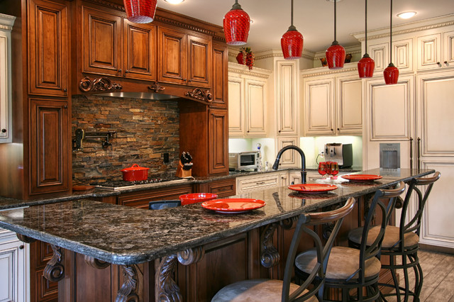 Stone Backsplash Kitchen Traditional with Carved Wood Ceiling Lights
